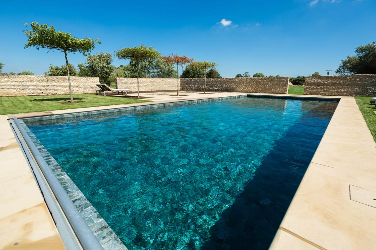 Yelford Manor House pool area design and landscaping